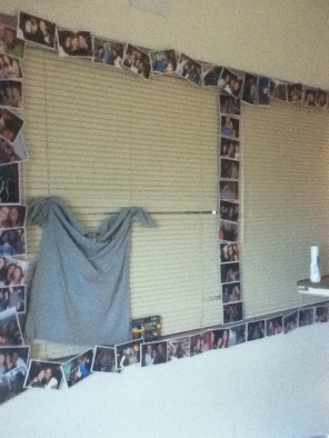 My friends decorated my room with pictures of me during my years in college. Thank you very much!