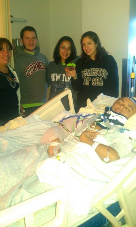 My friends and family in the hospital with me, on my birthday. Everybody was wearing my favorite color, green.